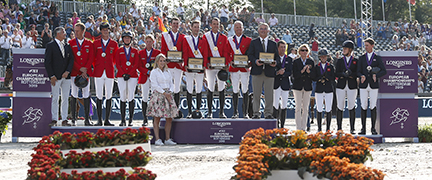 Team podium at the Longines FEI European Jumping Championships: Germany (silver), Belgium (gold) and Great Britain (bronze). Photo: Jumping Owners Club.